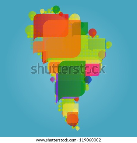 South America continent world map made of colorful speech bubbles concept illustration background vector - stock vector