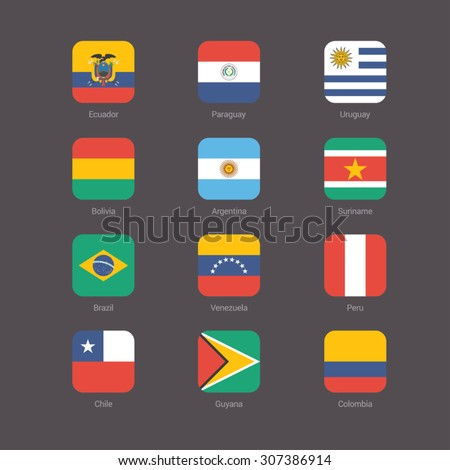 south america flat flags set