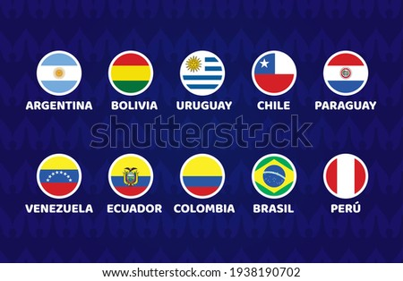 South America Football 2021 Argentina Colombia vector illustration. Copa america 2021 Set of cicle flag soccer tournament in south america Сток-фото ©