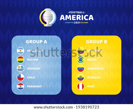 South America Football 2021 Argentina Colombia vector illustration. Copa america 2021 Two group a and group b final stage soccer tournament Сток-фото ©