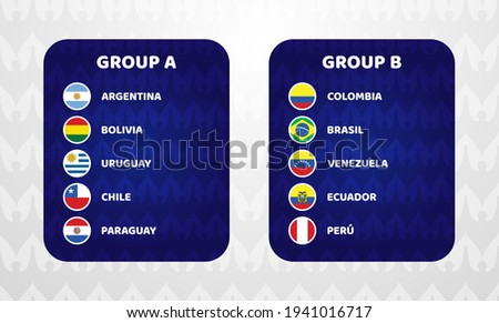 South America Football 2021 Argentina Colombia vector illustration. Copa America 2020 Two group a and group b final stage soccer tournament Foto stock ©