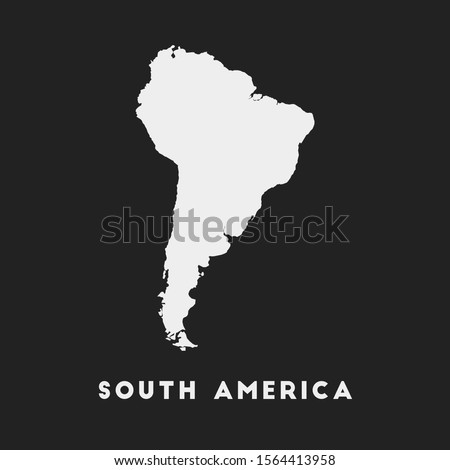 South America icon. Continent map on dark background. Stylish South America map with continent name. Vector illustration. Photo stock ©