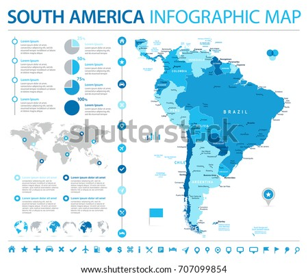 South America Map - Detailed Info Graphic Vector Illustration