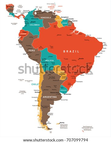 South America Map - Detailed Vector Illustration