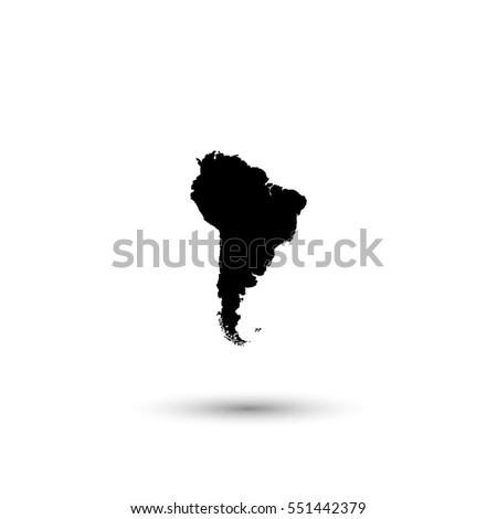 South America map vector icon with round  shadow