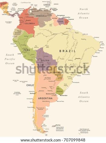 South America Map - Vintage Detailed Vector Illustration