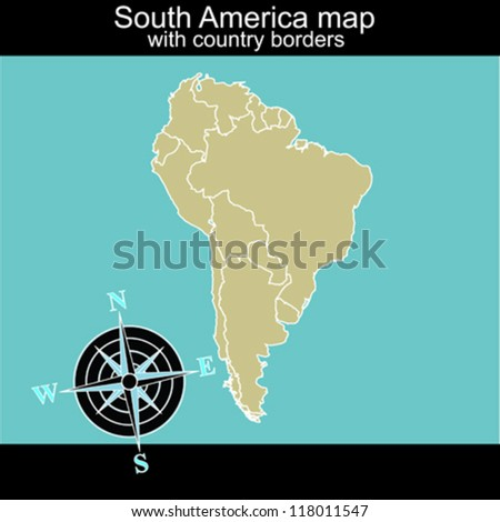 South America map with country borders