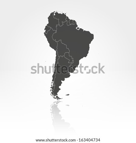 South America map with the shadow background vector Foto stock ©