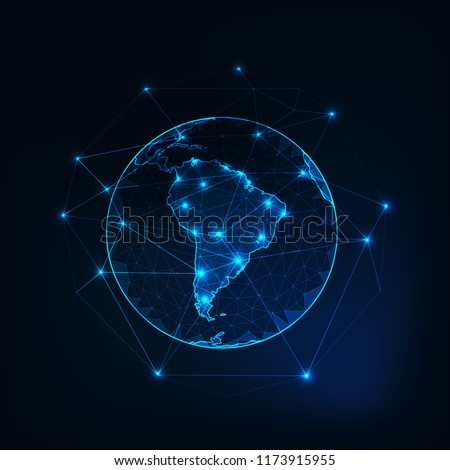 South America on Planet Earth view from space with continents outlines abstract background. Globalization, connection concept. Low poly wireframe, lines and dots glowing design. Vector illustration.