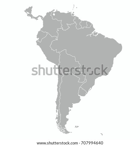 south america outline map vector