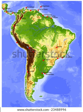 South America. Physical vector map, colored according to elevation, with rivers and selected cities. Surrounding territory greyed out. 27 layers, fully editable. Data source: NASA