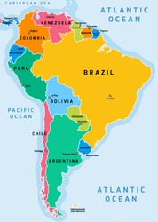 South America political division map - vector illustration.