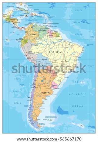 South America Political Map With Roads Lakes And Rivers Highly