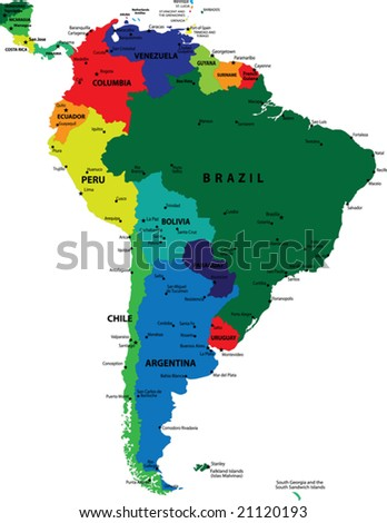 South America political vector map