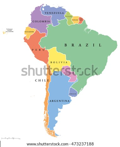 South America single states political map. All countries in different colors, with national borders and country names. English labeling and scaling. Illustration on white background.