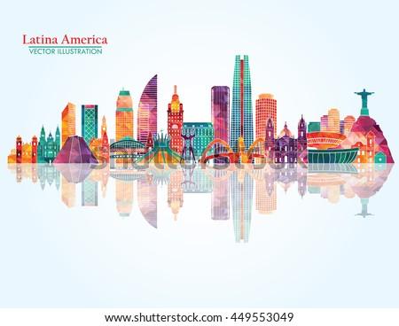 South America skyline. Vector illustration