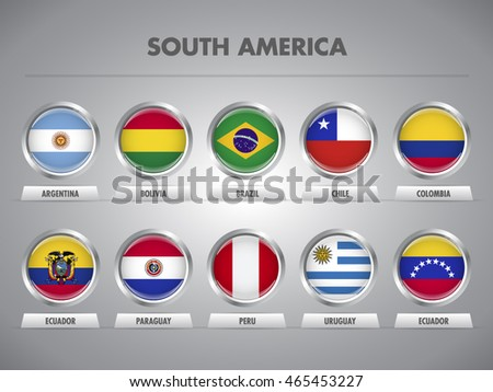 Shutterstock South American countries waving vector flags. States from Latin America competing to qualify for the World Cup in Russia 2018. Brazil 2010. Copa Libertadores, Copa Sudamericana, Copa America.