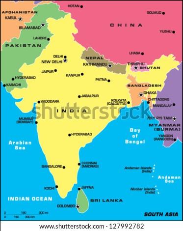 South Asia - stock vector