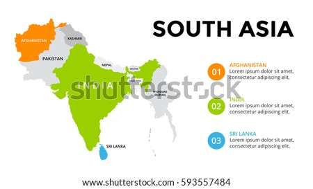 South Asia map infographic. Slide presentation. Global business marketing concept. Color country. World transportation data. Economic statistic template.