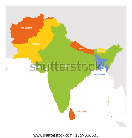 South Asia Region. Map of countries in southern Asia. Vector illustration.