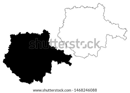 South Bohemian Region (Bohemian lands, Czechia, Regions of the Czech Republic) map vector illustration, scribble sketch South Bohemian map