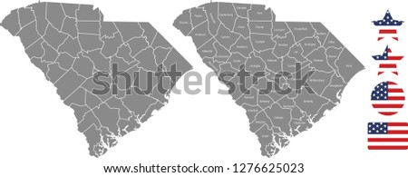 South Carolina county map vector outline in gray background. South Carolina state of USA map with counties names labeled and United States flag icon vector illustration designs