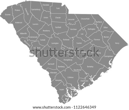South Carolina county map vector outline with counties names labeled in gray background