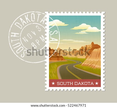 south dakota  postage stamp