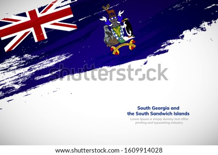 South Georgia and the South Sandwich Islands flag made in brush stroke background. National day of South Georgia and the South Sandwich Islands. Abstract painted grunge style brush flag background.