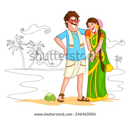 8d905b23b7 South Indian couple of India in vector. vector illustration of Indian couple  of different culture standing together
