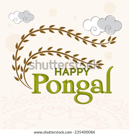 South Indian harvesting festival Happy Pongal celebrations with branch of leaves on floral design decorated background
