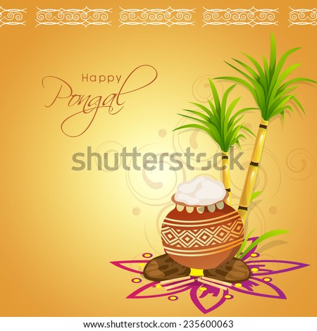 South Indian harvesting festival Happy Pongal celebrations with traditional mud pot and sugarcane on floral design decorated shiny background