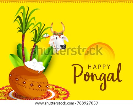 Happy pongal celebration card poster download free vector art south indian harvesting festival happy pongal greeting card background m4hsunfo Choice Image