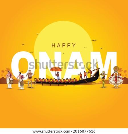 south Indian Kerala festival happy onam greetings background. vector illustration design