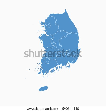 south korea blue map on white