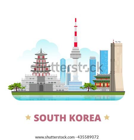 south korea country design flat