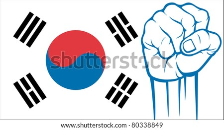 south korea fist (flag of south korea)