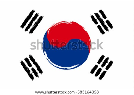 South Korea flag grunge style. Grunge flag of South Korea, vector illustration. South Korea colorful brush strokes painted national country flag icon. Painted grunge South Korea flag.  Brush strokes.