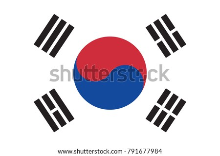 South Korea Flag Made with Official Korean National Colors and Correct Proportions - Black Blue and Red Elements on White Background - Vector Flat Graphic Design