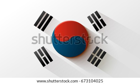 south korea flag with elegant