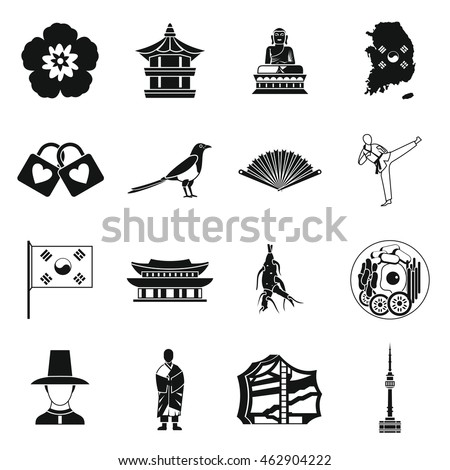 Royalty Free South Korea Icons Set In Outline Style 479053177