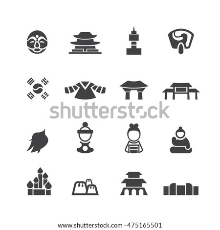 South Korea icons set,Vector