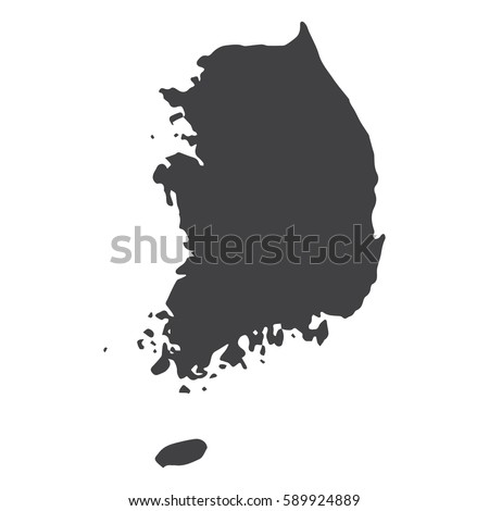 south korea map in black on a