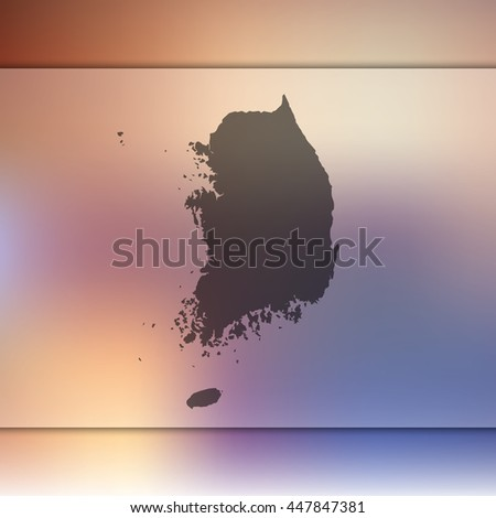 south korea map on blurred
