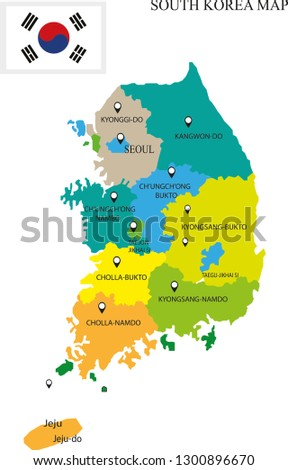 south korea map vector illustration, south korea drawing map, south korea province city map, country maps, maps