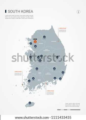 South Korea map with borders, cities, capital Seoul and administrative divisions. Infographic vector map. Editable layers clearly labeled.