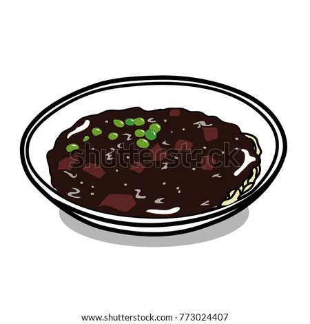 South Korea's delicious jajangmyeon vector