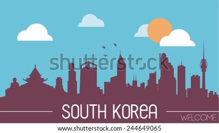 south korea skyline silhouette