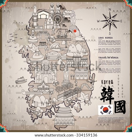 south korea travel map with