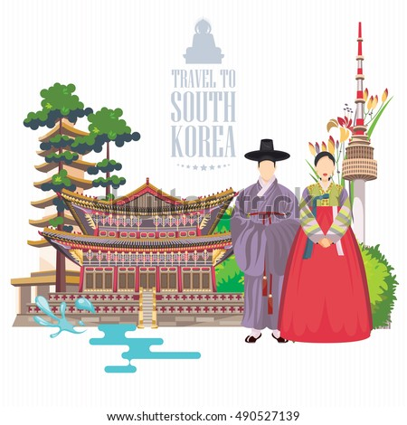 south korea travel vector
